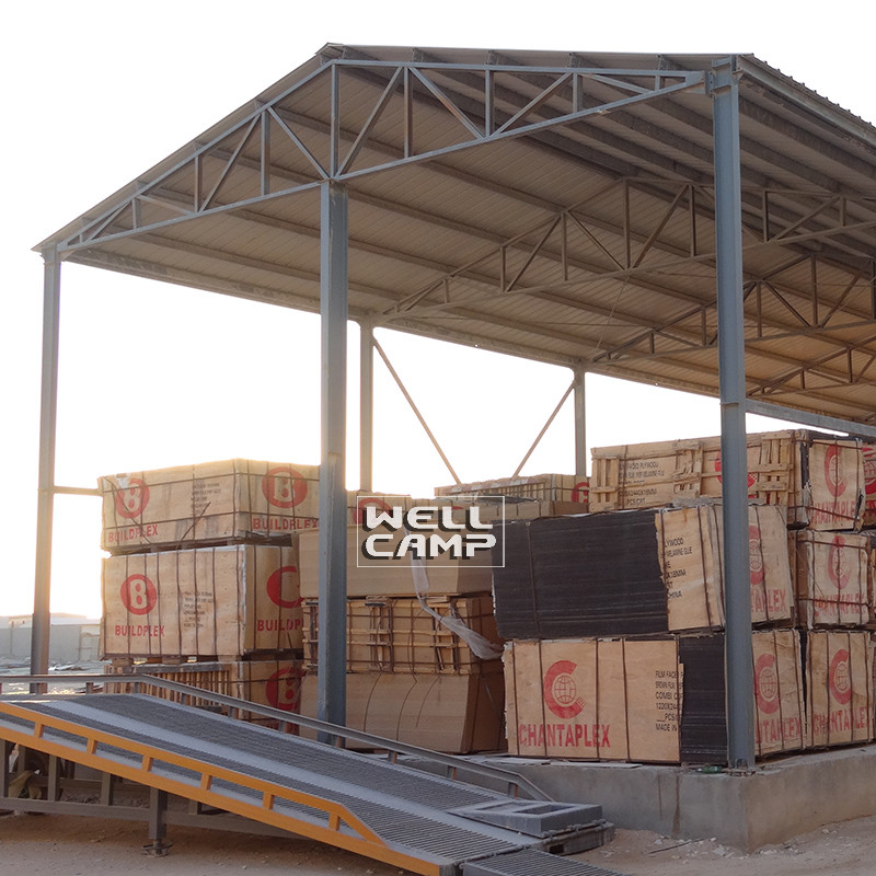 WELLCAMP, WELLCAMP prefab house, WELLCAMP container house steel warehouse with brick wall-2