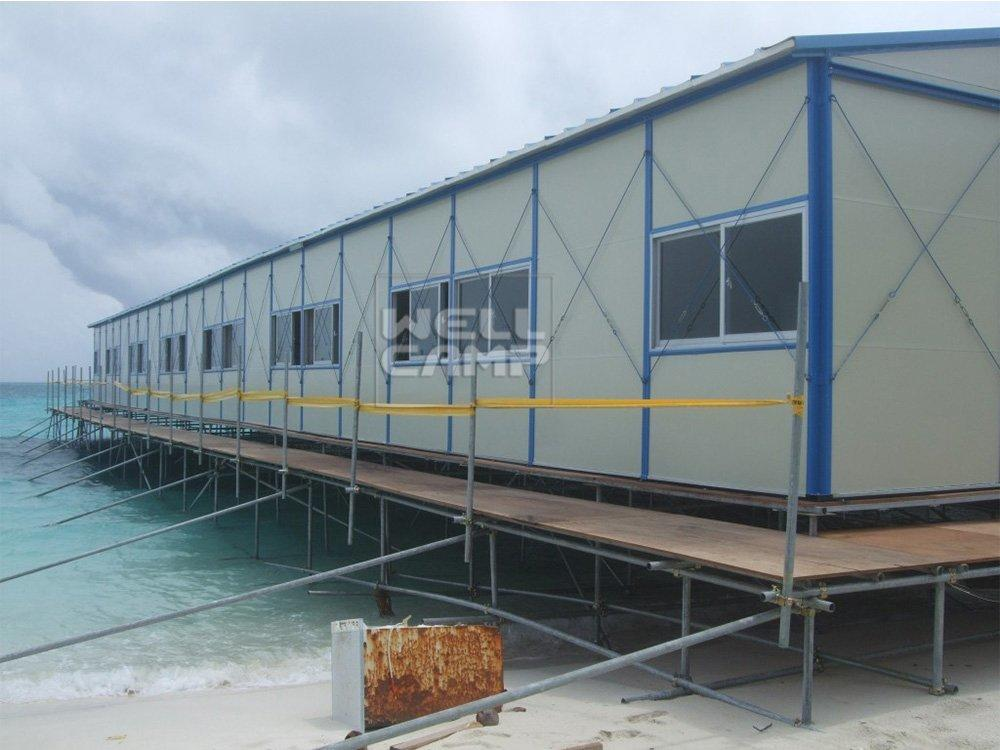 Durable Green Modern prefab movable House on seaside, Wellcamp K-7