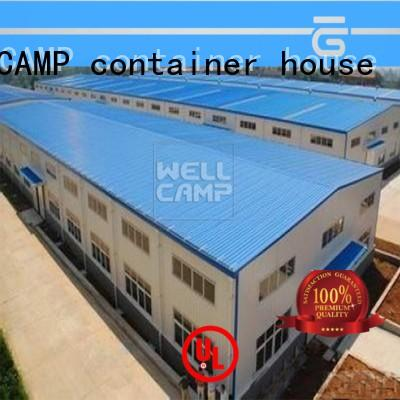 customized prefabricated warehouse with brick wall for sale