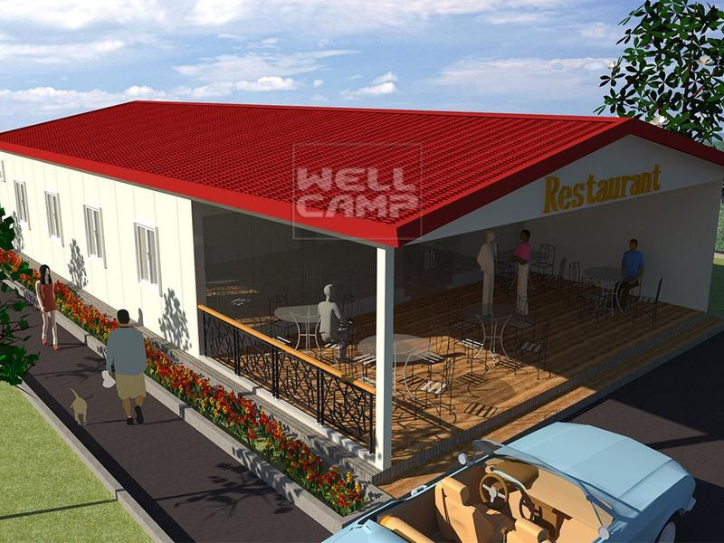 Fast Build Luxury Prefabricated House For Restaurant, Wellcamp S-2