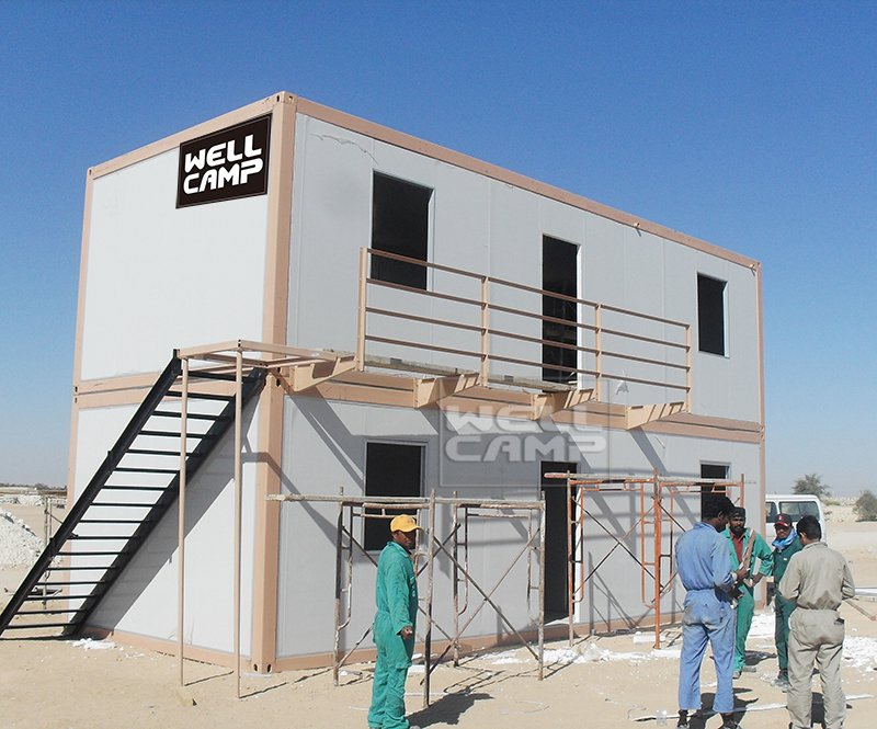 WELLCAMP, WELLCAMP prefab house, WELLCAMP container house Mobile portable two floor prefab container house in Qatar project, Wellcamp C-16 Detachable Container House image84