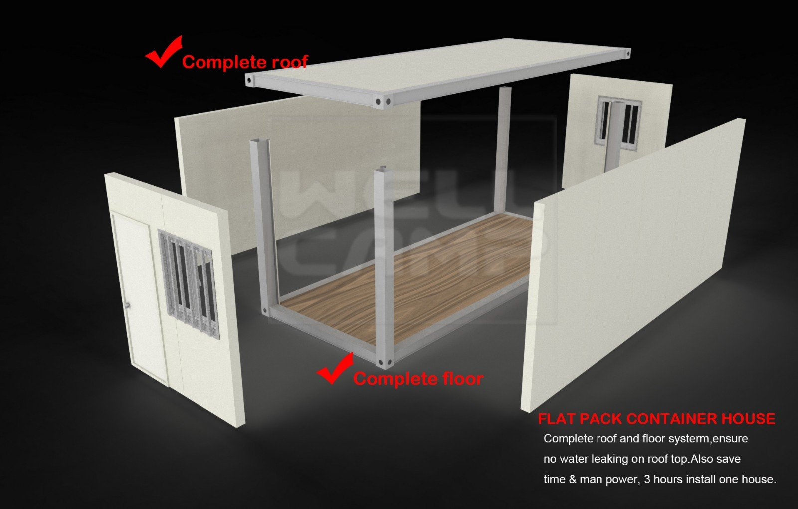WELLCAMP, WELLCAMP prefab house, WELLCAMP container house-Flat Pack Container House, Newest Two Floo-6