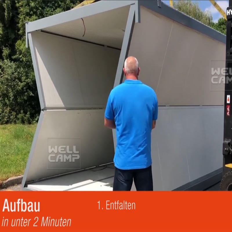 2019 Newest Wellcamp Folding Container House Germany Standard 3 People Install 1 House