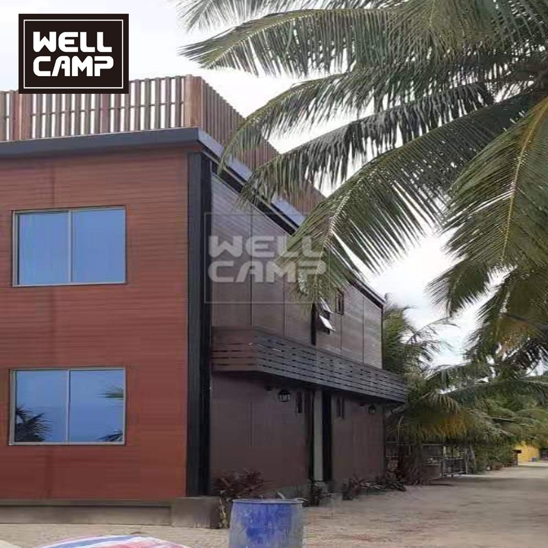 product-Two Floor Maldives Prefabricated Apartment Building Hotel Building with Canteen-WELLCAMP, WE