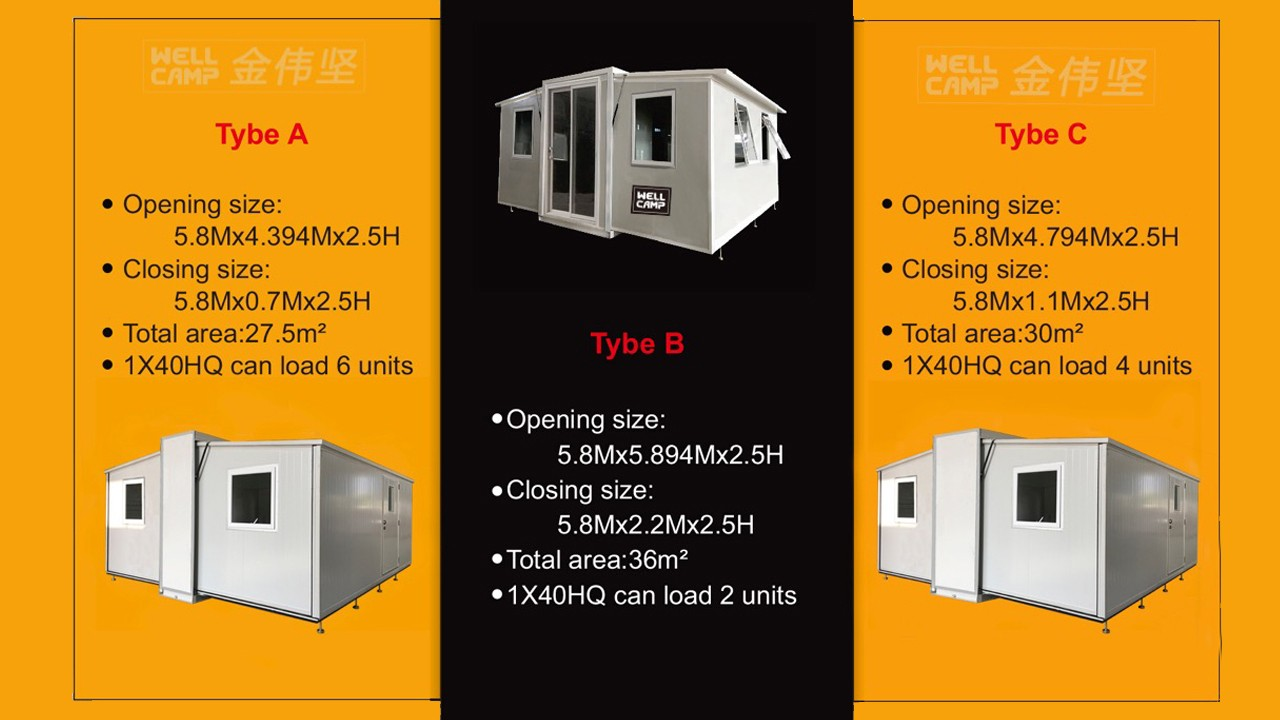 product-USA Germany Standard Two Bedroom Expandable Container House-WELLCAMP, WELLCAMP prefab house,