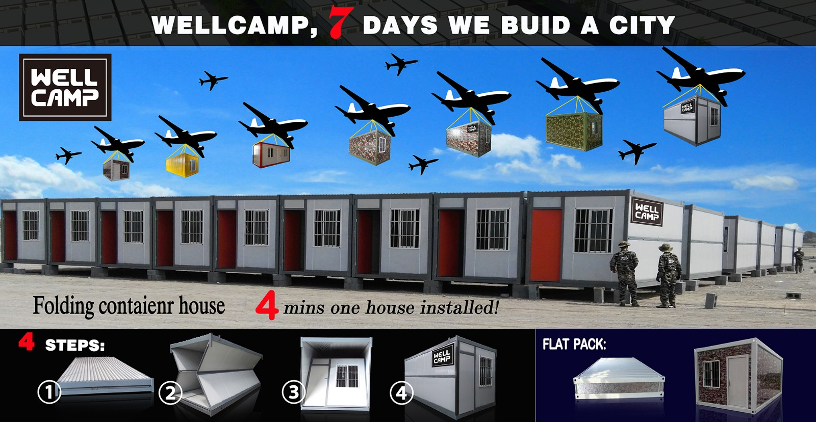 product-Easy Move Folding Container House Low Cost Wellcamp F-8-WELLCAMP, WELLCAMP prefab house, WEL