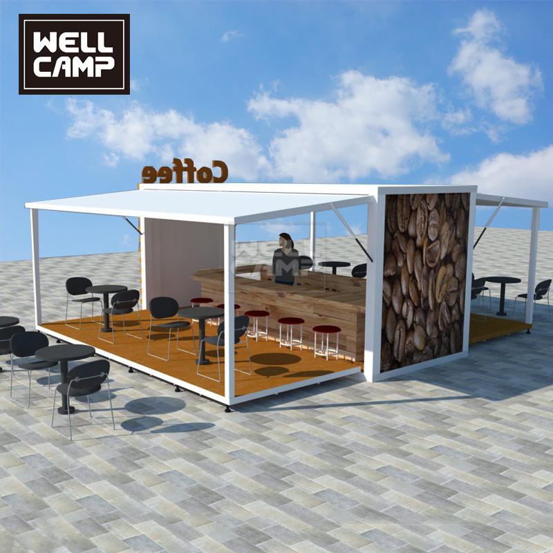 Prefabricated Outdoor Expandable 20ft 40ft Container Shops for Coffee Restaurant Store & Bar