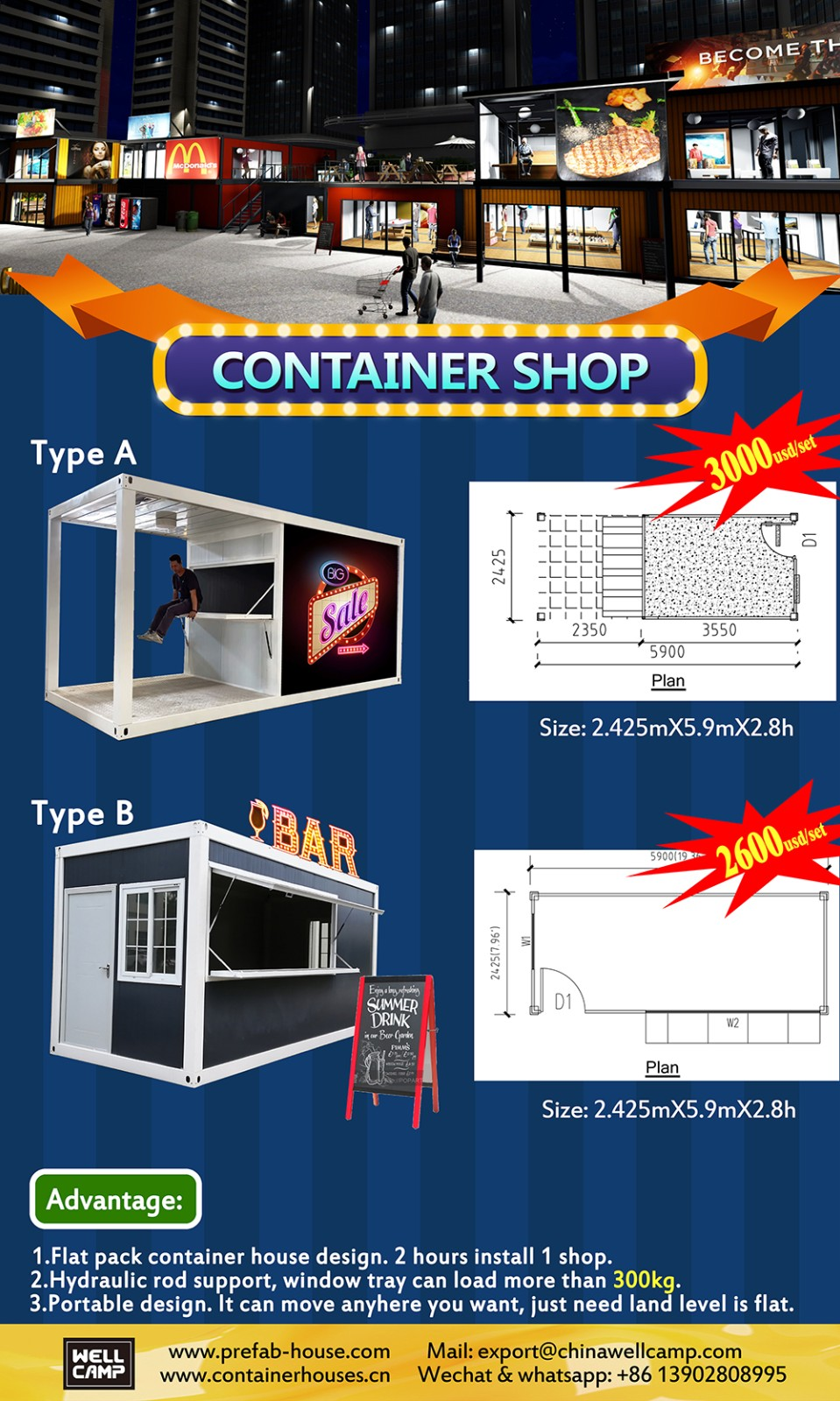 product-20FT Mobile Portable Outdoor Folding Container Shops for Coffee Restaurant or Snack-WELLCAMP