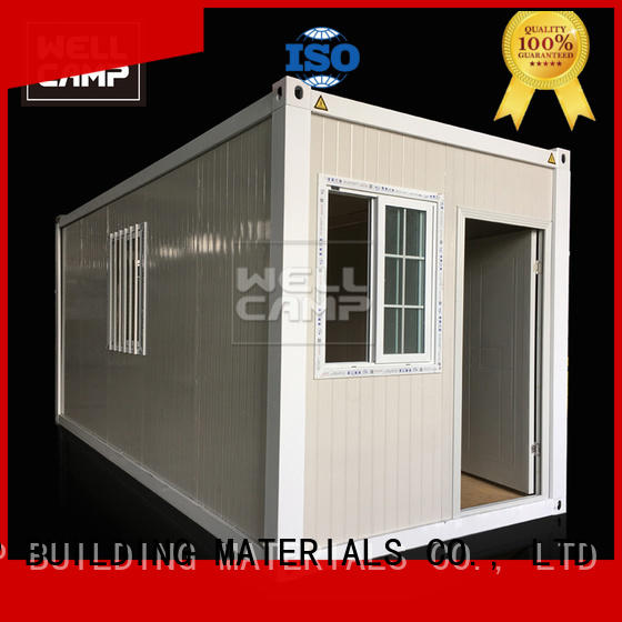 WELLCAMP, WELLCAMP prefab house, WELLCAMP container house roof flat pack container house with walkway wholesale